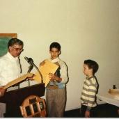 Receiving an Award from Coach Crandell